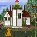 Slip Point Lighthouse Vintage by Anne Norskog