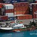 Small Boat With Cargo Containers by Amy Cicconi