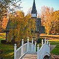 Small Chapel Across The Bridge In Fall by Alex Grichenko