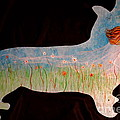 Small Dog Cut Out With Bride In Wind by Jacqueline Athmann