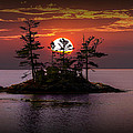 Small Island At Sunset by Randall Nyhof