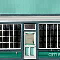 Small Store Front Entrance To Green Wooden House by Stephan Pietzko