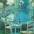 Small Table In Evening Dusk by Pg Reproductions