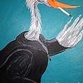 Smoking Egret In Leather Jacket by Melissa Darnell Glowacki