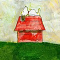Snoopy Asleep On Red Doghouse by David Lovins