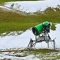 Snow Cannon On Meadow With Little Snow by Matthias Hauser