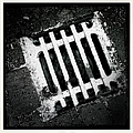 Snow Covered Drain Black And White Minimalism Abstract by Matthias Hauser