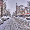 Snow Covered High Street And Cars In Morgantown by Dan Friend