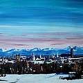 Snow Covered Munich Winter Panorama With Alps by M Bleichner