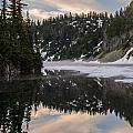 Snow Lake Last Fog by Mike Reid
