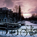 Snow On Canals. Amsterdam, Holland by Farrell Grehan