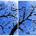 Snow On The Blue Cherry Blossom Tree by Barbara Griffin