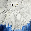 Snow Owl In Flight by Linda Waidelich