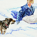 Snow Play Sadie And Andrew by Carolyn Coffey Wallace