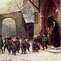 Snow Scene  Children Leaving School by Marc Louis Benjamin Vautier