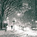 Snow Swirls At Night In New York City by Vivienne Gucwa