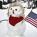 Snow Woman With Flag by Buddy Mays