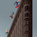 Snowboarders Fly Off The Flatiron Halfpipe by Bob Staake