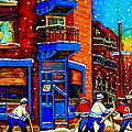 Snowday Hockey Practice Wilenskys Corner Fairmount And Clark Montreal City Scene Carole Spandau by Carole Spandau