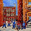 Snowfall Hockey Game Winter City Scene by Carole Spandau