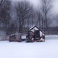 Snowing At Narcissa Road Springhouse by Bill Cannon