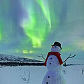 Snowman And The Aurora by Kevin G Smith