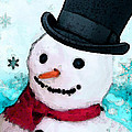 Snowman Christmas Art - Frosty by Sharon Cummings