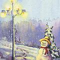 Snowman Enyoying The Light by Glenn Farrell