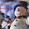 Snowman Merry Christmas Photo Art 05 by Thomas Woolworth
