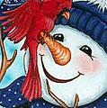 Snowman W/ Cardinal Visitor by Debrah Nelson