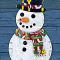 Snowman Winter Fun License Plate Art by Design Turnpike