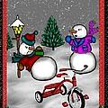 Snowmen Playing by Karen Sheltrown