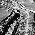 snowmobile tracks in snow across frozen field Canada by Joe Fox