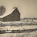 Snowstorm At The Ranch Sepia by Priscilla Burgers