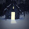 Snowy Chapel At Night by Edward Fielding