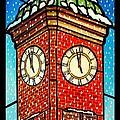 Snowy Clock Tower by Jim Harris