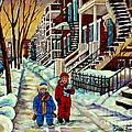 Snowy Day Rue Fabre Le Plateau Montreal Art Winter City Scenes Paintings Carole Spandau by Carole Spandau