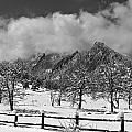 Snowy Flatirons Boulder Colorado Landscape View Bw by James BO Insogna