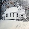 Snowy Gates Chapel  -little White Church - Ellijay by Jan Dappen