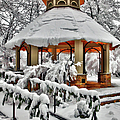 Snowy Gazebo - Greensboro North Carolina I by Dan Carmichael