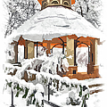 Snowy Gazebo - Greensboro North Carolina II by Dan Carmichael
