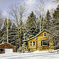 Snowy Log Home by Betty Denise