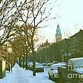 Snowy Montreal Winters City Scene Paintings Verdun Memories Church Across The Street by Carole Spandau