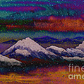 Snowy Mountains On A Colorful Winter Night by Beverly Claire Kaiya