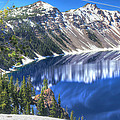Snowy Mountains Reflected In Crater Lake by John Trax