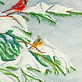 Snowy Pines And Cardinals by Kathryn Duncan