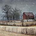 Snowy Red Barn by Carol Erikson