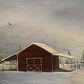 Snowy Red Barn by Katrina Nixon