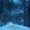 Snowy Road On A Winter Evening by Jill Battaglia