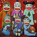 Sock Doll Family Portrait  by Leah Saulnier The Painting Maniac